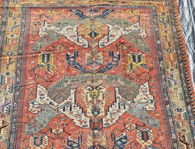 A good antique Caucasian Kuba Sumak carpet with extremely rare and sought after Dragon design. Finely made with crisp natural dyes. Some high quality repair, exceptionally clean and floor ready. 298x201cm