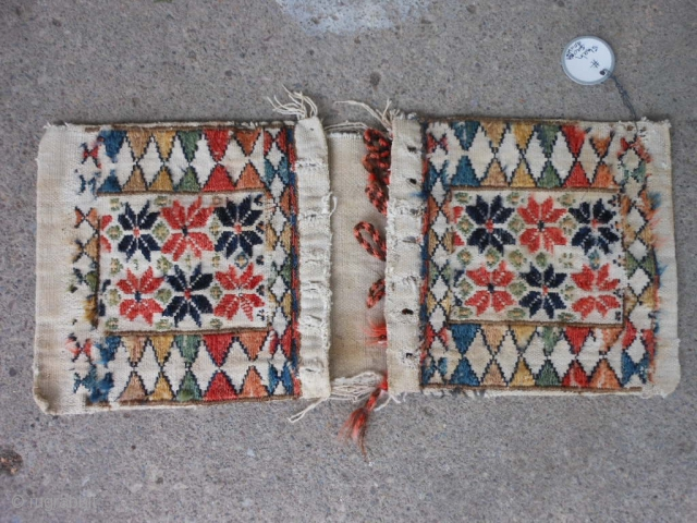 Persian Shah Savan small saddlebags, late 19th century, 1-6 x 0-8 (.20 x .46), rug was hand washed, cotton and wool, good condition, stain on back, plus shipping.