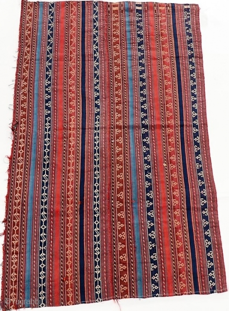 Antique jajim, probably south Persian, all dyes natural.  Unusual graphics.  It was obviously larger at one time.  Please ask for additional photos.