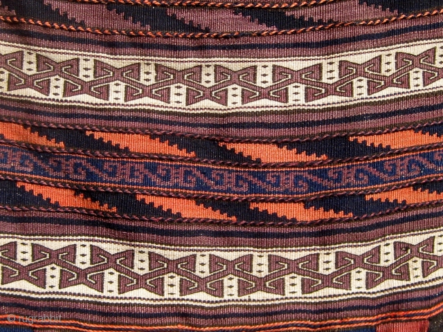 Complete Baluch khorjin in beautiful condition, fine weave, floppy handle, and wonderful design, first quarter of the 20th century, all dyes natural except for the pale rosy orange which faded from a  ...