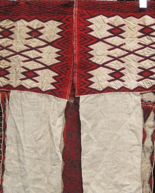 "Woman's overgarment, homespun flax and wool, 81"" wide including sleeves, 42"" down, Weining area, Guizhou, China, mid 20th century.  Please ask for additional photos."
