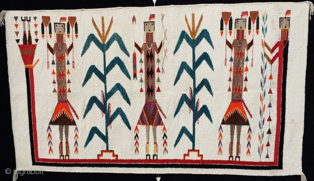 """Antique Navajo Yei, Shiprock area, Mid-century, excellent condition, wonderful iconography including rainbow goddess, bows and arrows, etc.  36"""" by 62"""".  Please ask for additional photos."""