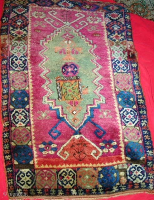 "Unusual Anatolian (Kurdish?) large yastik, 19th century, beautiful colors, fleecy wool with original flat weave on both ends, selvages partially original, with an unfortunate but replaceable 4"" by 5"" patch roughly in  ..."