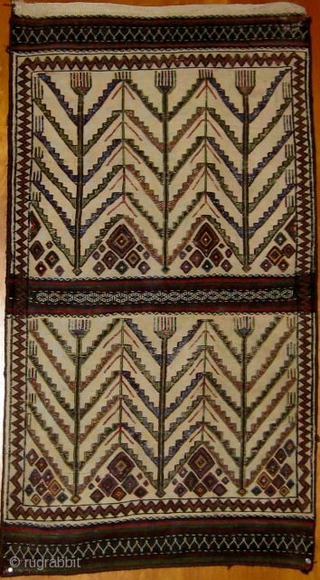 """Semi-antique extremely interesting graphic flat-weave Baluch complete bag, in excellent condition.  First half of the 20th Century, all original, some synthetic dyes mixed in with natural dyes.  24"""" by 43"""".  ..."""