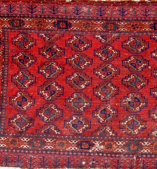 """Antique 19th Century Ersari chuval, made unusual by the absence of secondary guls, and by rather odd but original selvages, all natural dyes, very floppy handle, some damage as shown. 36"""" by  ..."""