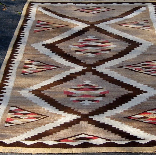 "Antique large size Navajo rug (Red Mesa or Teec Nos Pos), first quarter of  the 20th century, 4' by 7' 2"".  Please ask for additional photos."