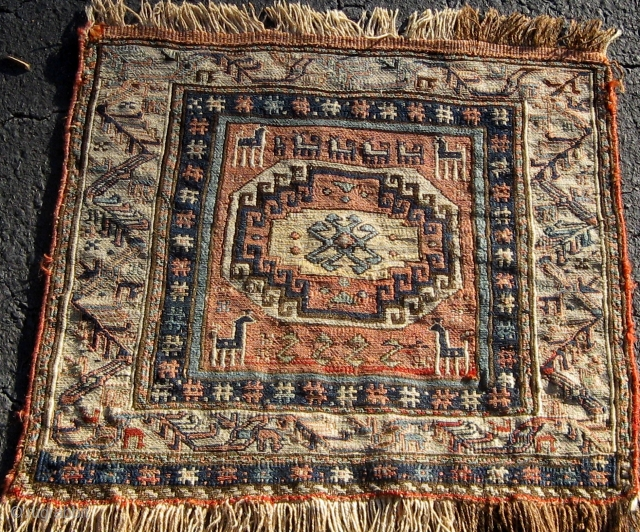 """19th Century Caucasian/Shahsavan Soumak (Soumakh, Sumac) bag face, with animals, 19"""" by 21"""", in lovely condition.  Some mellowing of a couple of colors in the front.  Please ask for additional  ..."""