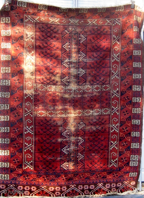 Stately 19th Century Ersari engsi, with wear, but a classic early example with beautiful wool and colors. Please ask for additional photos.