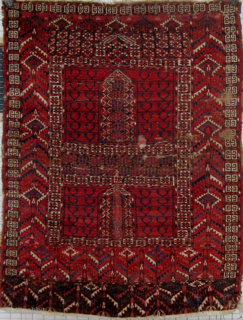 19th Century Tekke engsi, all natural  dyes, with some old restorations.  Please ask for additional  photos.