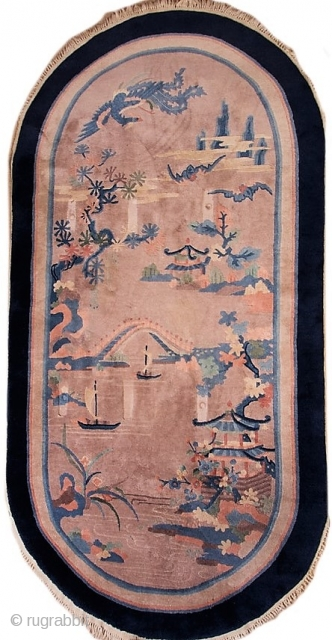 "Antique Chinese Art Deco pictorial rug with rounded ends.  Circa 1930-1940.  In very good condition.  49"" by 98""."