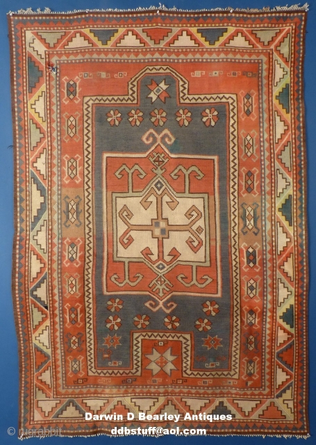 """Caucasian Fachralo Kilim Prayer Rug. Colors have mellowed and there are 2 dings but I've never seen one. It is fairly finely woven as well. It measures 75"""" X 51"""" Please email me for additional pictures,  ..."""