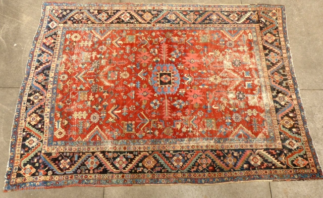 Antique Heriz, c.1880-90, Approximately 8'X 10', Worn but no holes, tears or stains. Clean. Very usable. Price on Request SOLD