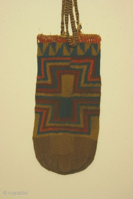 Pre-Columbian bag, Siguas 1 culture, Peru, circa 550BC-100AD,Department of Arequipa, camelid fiber, discontinuous interlocking warp and weft, probably used as a quiver ( flechero). Dimensions: 7 1/2 x 15 inches. Condition: no  ...