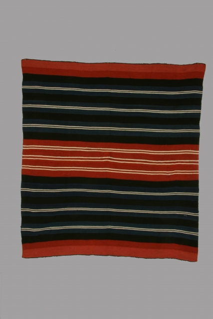 Mantle (iscayo) Aymara indian, Bolivia, alpaca wool, 18th/19th century, some small areas of restoration/reweaving, 40 x 44 inches. This is a strikingly graphic example of its type with white lines boldly projecting  ...