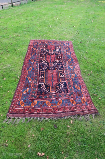 Luri Bakhtiari, wool on wool very good overall condition, first half of the 20 th Century. With a zoomorphic border. Ca; 330 x 155 cm.  price including transport with track and  ...