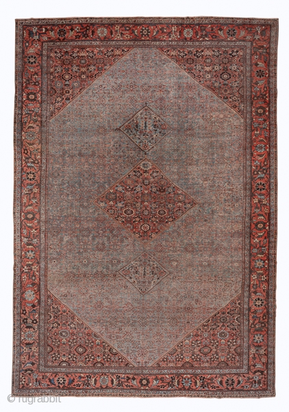 Mahal Carpet  13.0 x 18.9 3.96 x 5.76  A soft red tangerine flower border frames the putty toned field with its small Herati design and the corners and medallion with a medium scale rosette pattern  ...