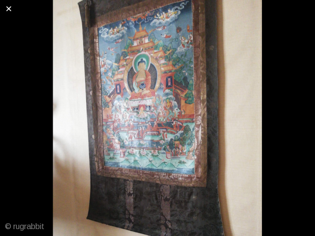 Antiq Thangka from Tibet extremely nice condition . Size 135x75 cm