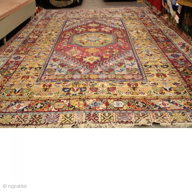 Antik Rabat Carpet Large Beautiful Shabby Chic Antique Moroccan Carpet Old repairs, worn in places and slit in one end. Size386x235