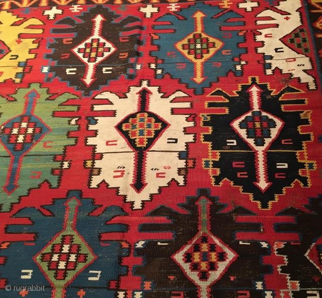 Antique Caucasian Bordjalou Kilim Size 176x356 cm / 5'8''x11'7'
