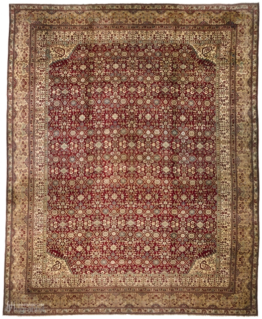 """Antique Indian Agra Rug India ca.1870 19'5"""" x 15'4"""" (593 x 468 cm) FJ Hakimian Reference #09005"""