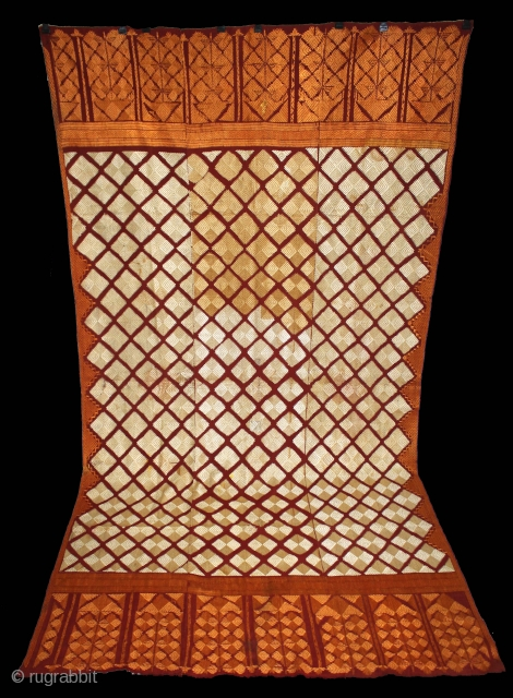 Phulkari From West(Pakistan)Punjab India Called As Chand Bagh.C.1900.Floss Silk on Hand Spun Cotton khaddar Cloth.(DSL04060).