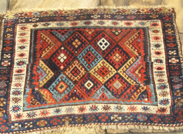 Large antique Jaf bag-face, quirky design, great saturated colours.