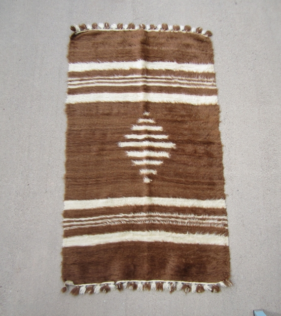 """Child's Siirt blanket.....Southeast Anatolia ....mid 20th C....angora goat hair on cotton string....very unusual ....Dowry piece in un-used condition... 3'x 5'3"""" ( 90 x 160cm )"""