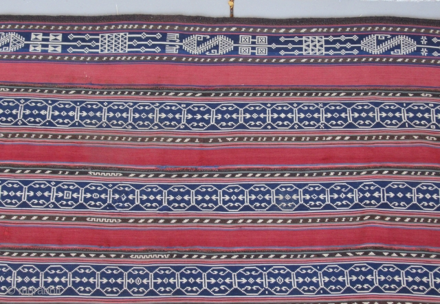 """Persian Jajim ....most probably Shahsevan .....circa 1900...5' x 6'3"""" (150 x 190) ...all wool ( with a goat-hair plaited surround ) ...warp-faced plain weave with warp substitution  ...veg dyes except for  ..."""