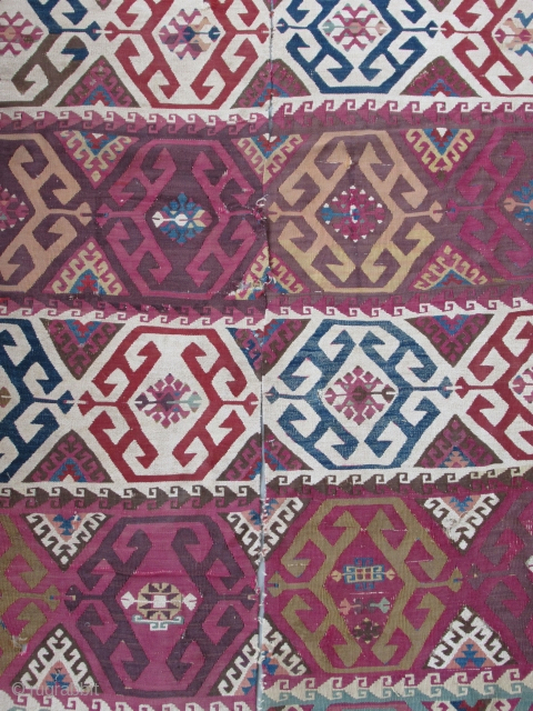 "Reyhanli Kurdish kilim fragment....Southeast Anatolia...before 1850...wool on wool with some areas of cotton/wool blend ....2-pieces joined...missing end panels and most of the borders.....4'6"" x 9'(135 x 270cm )....excellent old dyes...fine weave..condition as  ..."