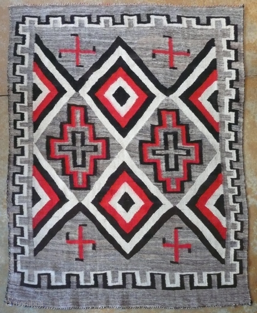 Antique Navajo Rug c. 1900 early hubbell/ ganado whirling log. @ 5'x7', orig con, complete,no holes or tears,washed , color run removed    $4800