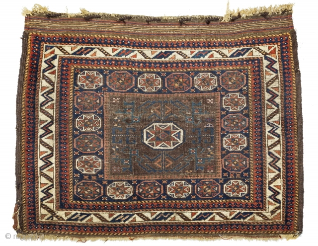 """Antique Baluch bag face with an unusual range of colors for this type. 2'4"""" x 3'0"""".  Cheers."""