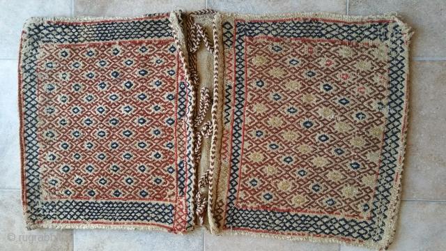 Qashqai Khurjin (saddlebag ) Textile size :95 x 52 cm Wool on wool  Natural color ( yes ) front : Flatweave (twisted technique )( Shiraki ) back : Flatweave ( twisted  technique )( Shiraki ) Age 95 years  ...
