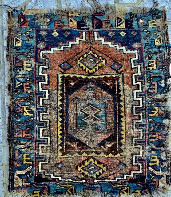 antique Persian kurdish KelarDasht fragment bird border ,size 95x85cm