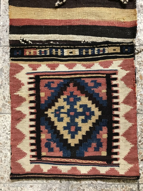 Armanian Saddlebag from Taleghan area,only a small repair in the bridge kilim corner that repaired carefully ,Size:139X56 cm
