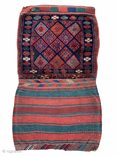 ca.1900 Antique Kurdish Jaf bag , good condition and Natural colours with great fine wool quality, size 107x62 cm