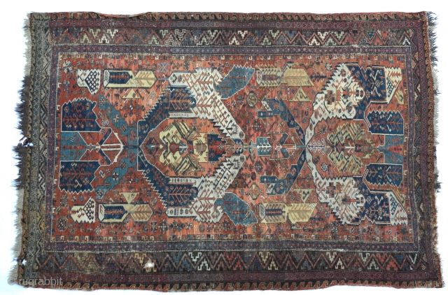 """An antique Dragon Soumak, fascinating with heavily saturated natural colors, 19th C 120"""" x 82 inches or 10' x 6'8"""""""