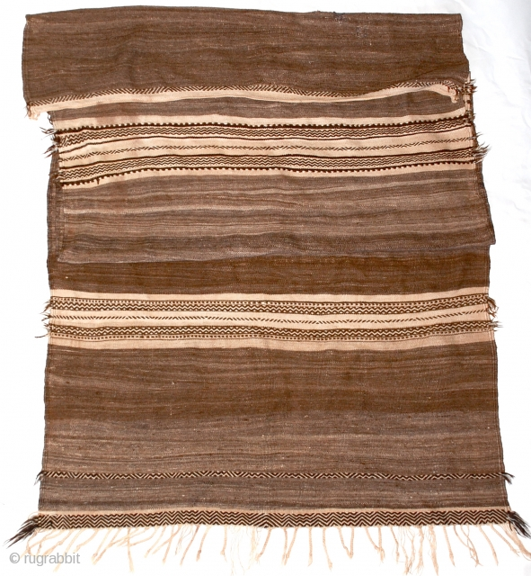 """Berber Glaoua Tribal Blanket/Rug  A classic early Glaoua, used for storage of wheat, in finely woven all natural, undyed wool with geometric design form the High Atlas Mountains, Morocco.  124"""" x 53"""""""