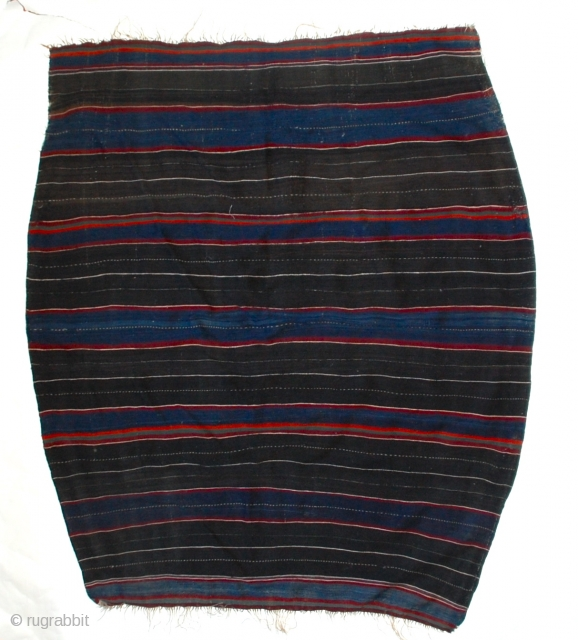 Berber Middle Atlas Wool Stripe Cape  A finely woven stripe flatweave all wool cape, with it's distinctive shape wider in the center, worn on ceremonial occasions like the Berber marriage festival  ...