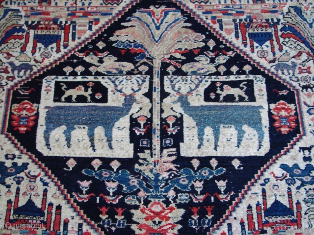 "Persian, 6'6"" x 4'3""  the warp is silk as seen in the last photo showing the back of the rug. It was in the 1980's exhibit of rugs of Los Angeles collectors curated  ..."
