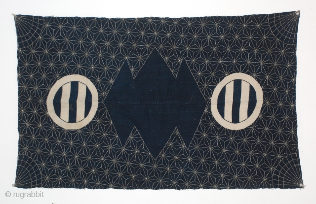 """Sashiko Furoshiki with beautiful detailed sashiko (quilting) on front and seen on back, of indigo hand-spun cotton. Japan, early 20th century and in excellent condition.  38"""" x 24"""""""