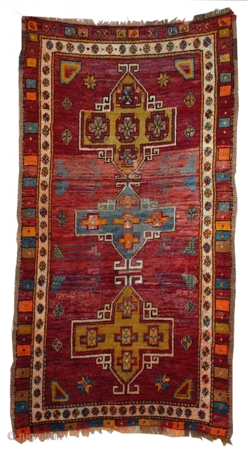"""Turkish Bergama Rug 6'9"""" x 3'10"""" A classic medallion design on this lovely colorful silky pile rug, woven in central Anatolia."""