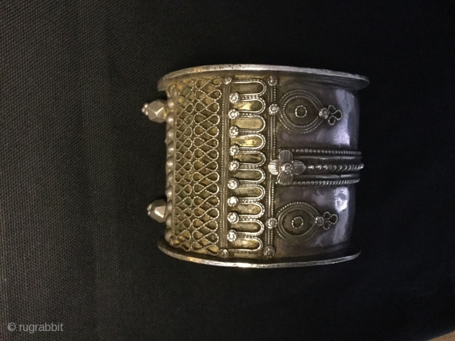 Stunning antique silver bracelet ,with nice patina,Andhra Paradesh,175g.