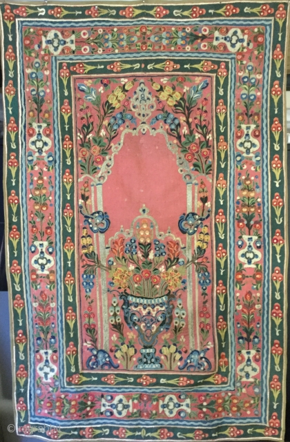 Beautiful 19th cent. embroidered wool appliqué Banya Luka wall hanging .