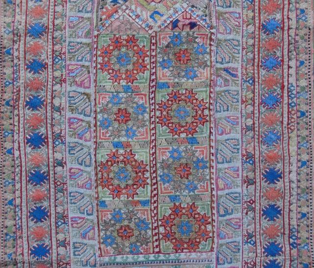Beautiful 19th cent.composite silk-metal thread embroidery,Salonika or Kavala,cm.50x123