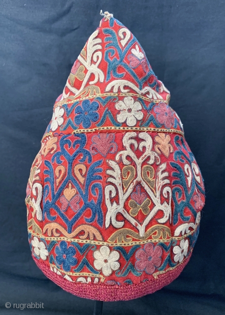 An exceptional antique Turkoman Turkmen Chodor tribe silk embroidered hat dating to the 19th century. Though the hat is somewhat fragmented, I think it was reduced from a larger hat and done  ...