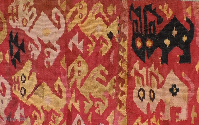 Unusual pre-Columbian Ichma culture tapestry menagerie.  Deer, Pelicans and felines all in one panel.  A.D. 1100 - 1400.  I have one piece with only with these deer depictions, but  ...