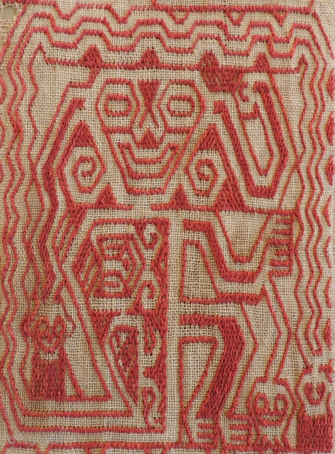 Early Paracas Embroidered Panel (unfinished).  B.C. 200 - A.D. 100.  South Coast of Peru.  25 x 5.75 inches.  This sizable Paracas textile was never completed.  As such,  ...
