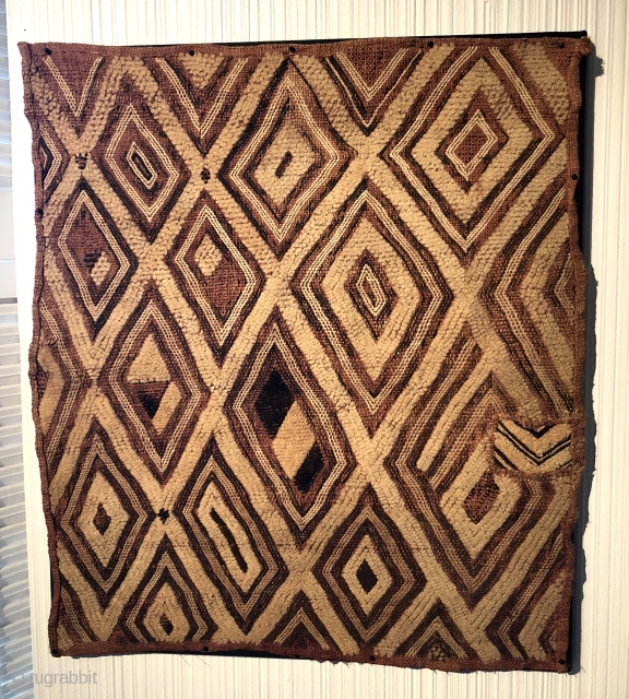 Congo Raffia Textile. Old primitive, powerful, patched and priced to sell.