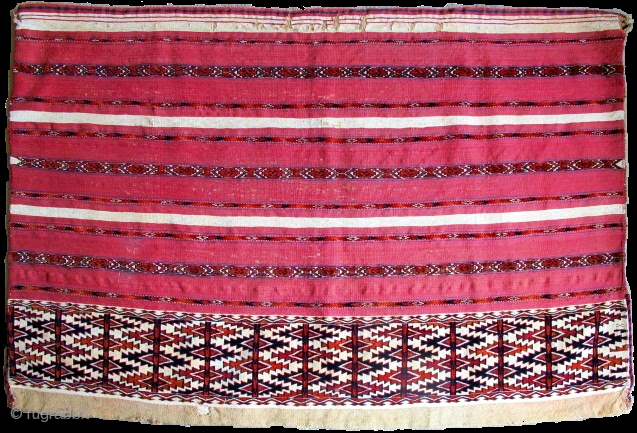 """Complete Tekke Turkmen Ak Chuval, cotton whites, bands of pile across a flat-woven surface. Full bag with back. late 19th cen. 4'x 2'8"""" / 122x81"""