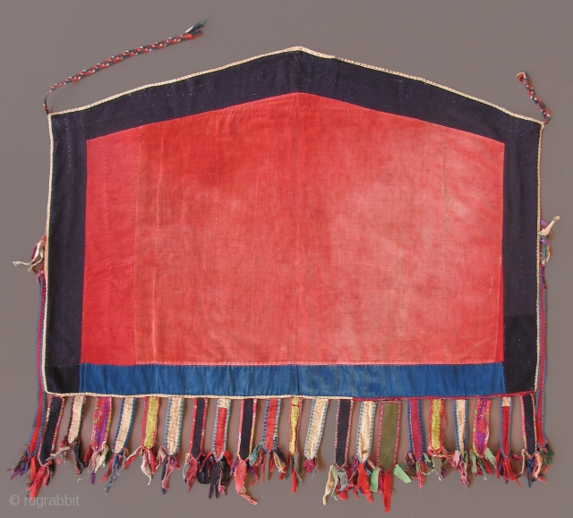 Yomut pieced cloth asmalyk,  19th century, trade cloth, printed cloth  33 x 38 inches with tassels.